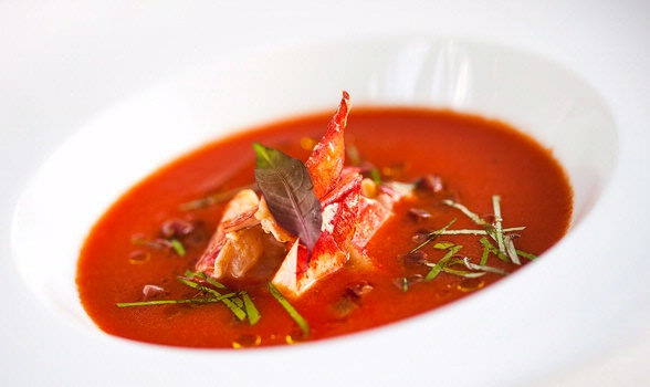 Gazpacho of grilled peppers with lobster, chorizo and spring onions